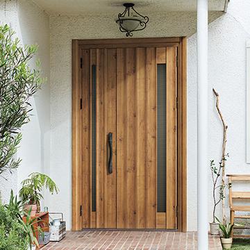 玄関リフォーム 木目ドア
