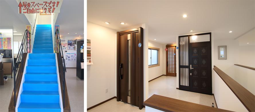 階段 YKKAP製の玄関リフォーム商品「ドアリモ」の展示
